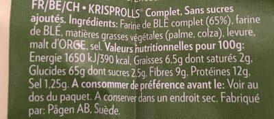 Krisprolls complets - Ingrediënten - fr