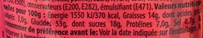 Gifflar cannelle zimt - Informations nutritionnelles
