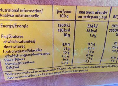 Krisprolls dorés - Voedingswaarden - fr
