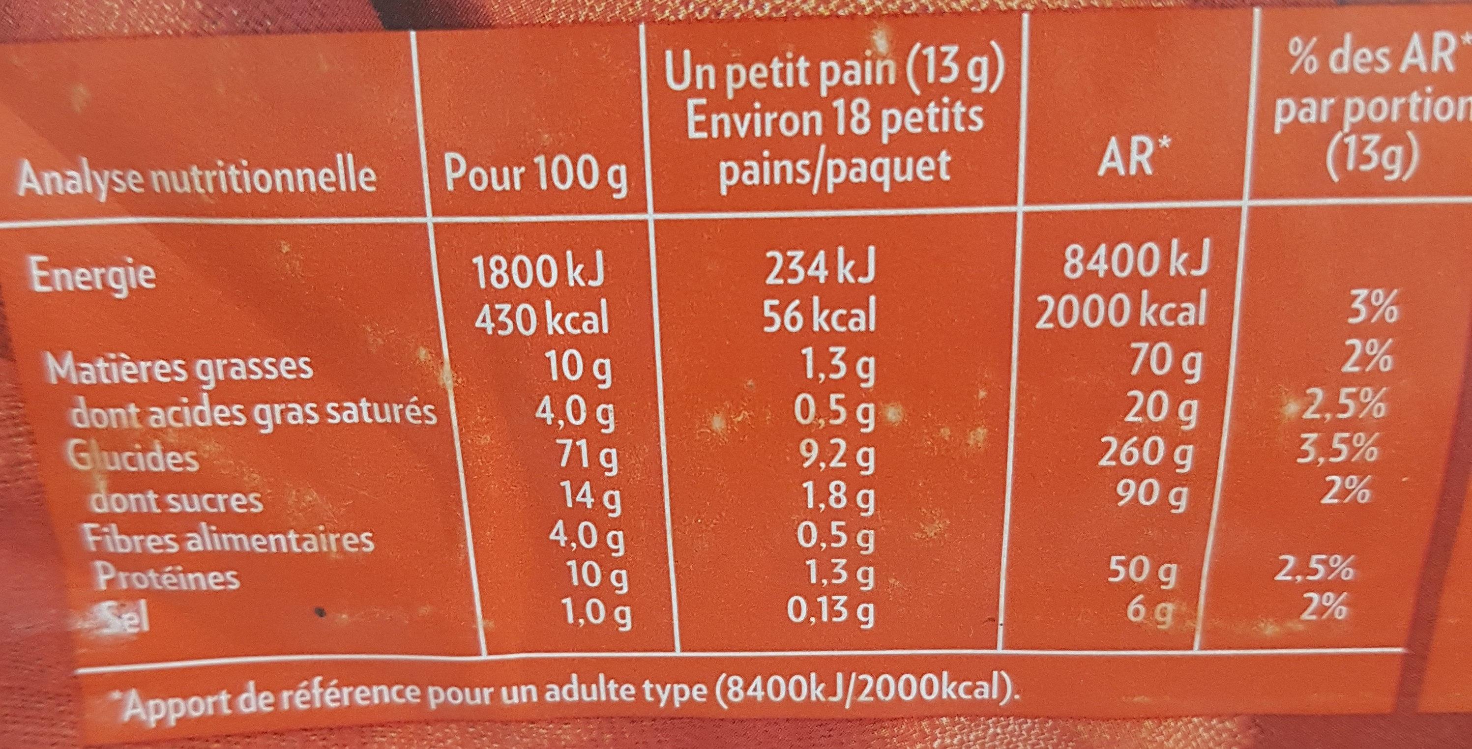 Krisprolls briochée - Nutrition facts - fr