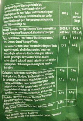 Tortilla Chpis - salted - Información nutricional - en