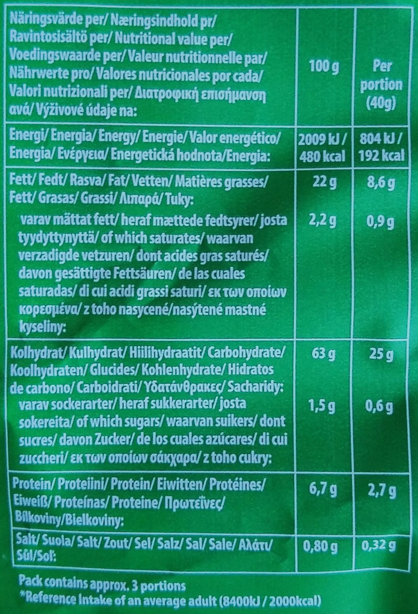 Tortilla Chpis - salted - Nutrition facts - en