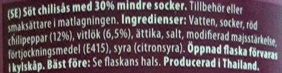 Sweet Chili Sauce - Ingrediënten - sv