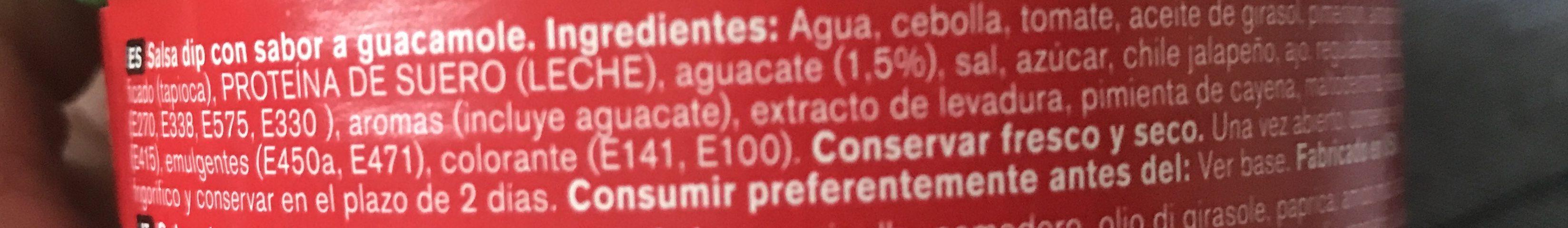 Salsa guacamole envase 250 g - Ingredients