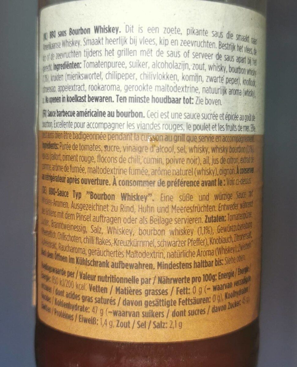 Bbq sauce bourbon whiskey - Informations nutritionnelles - fr