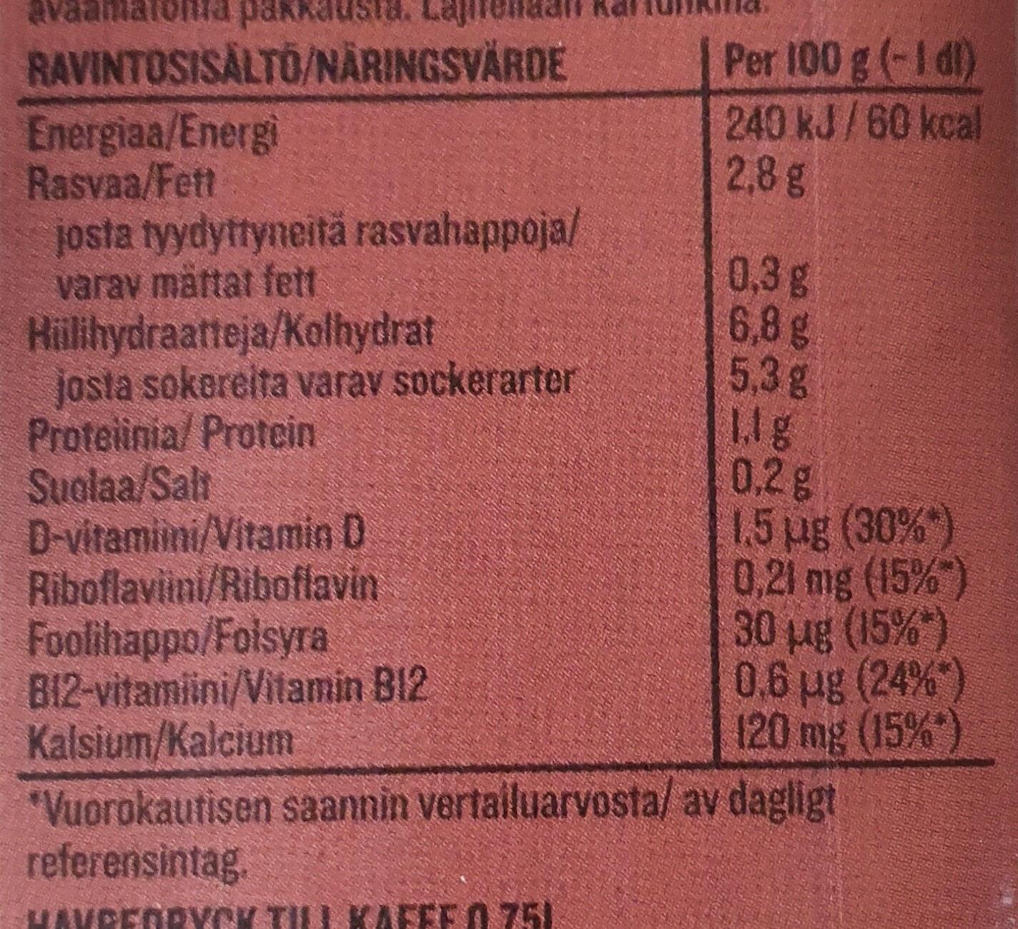 Plant Kaurajuoma Kahviin - Informations nutritionnelles - fi