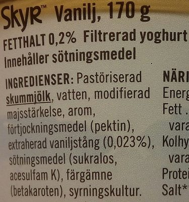 Skyr Vanilj - Ingrédients - sv