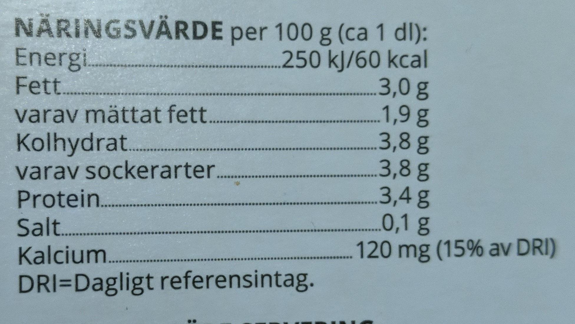 Bollnäsfil - Informations nutritionnelles - sv