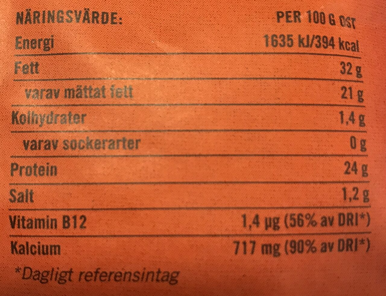 Pizzaost Riven - Informations nutritionnelles - sv