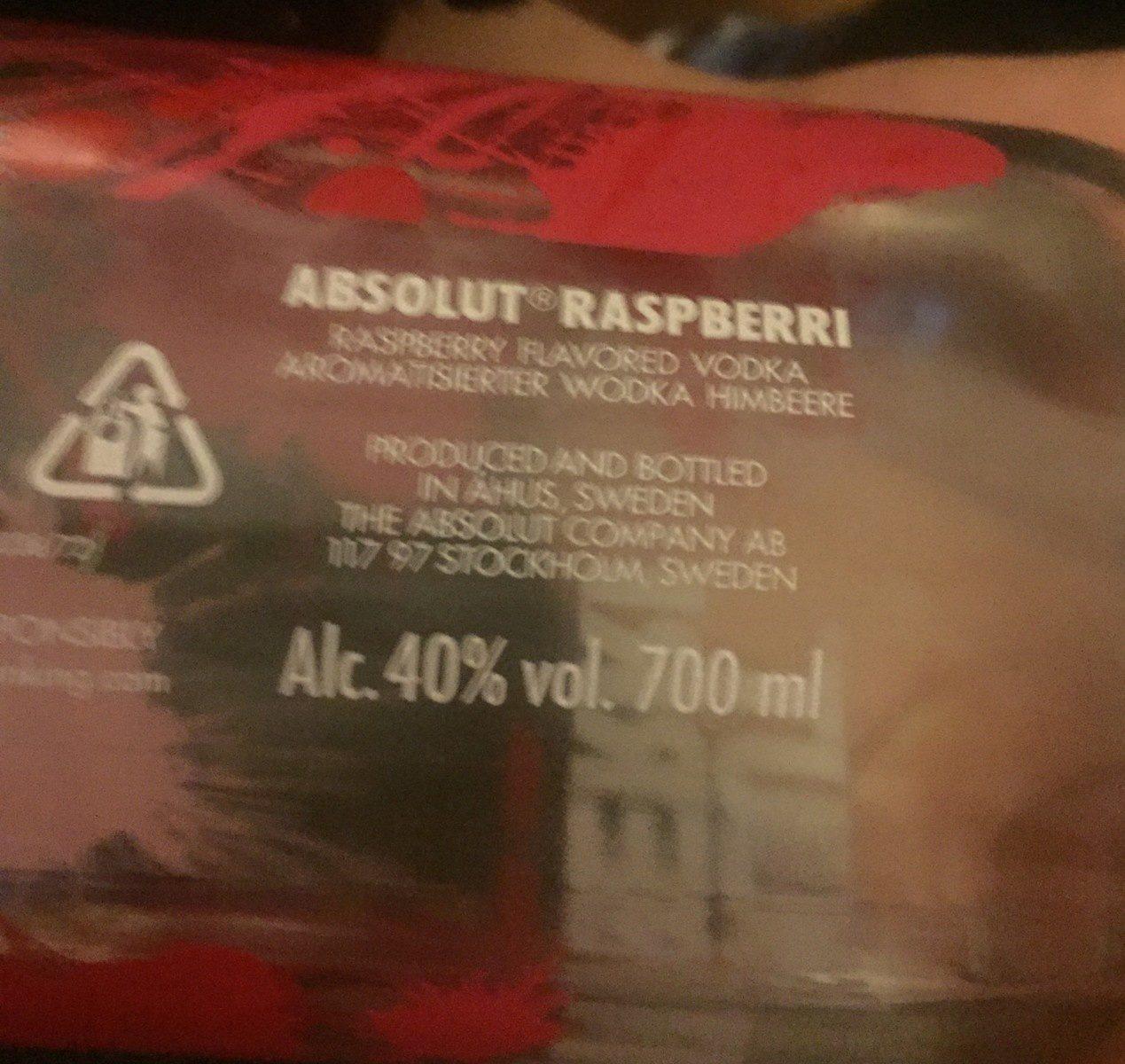 Absolut Raspberry Vodka, 70 CL - Ingrédients - fr