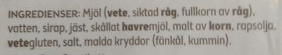 Carlssons Fyrkant - Ingrediënten - sv