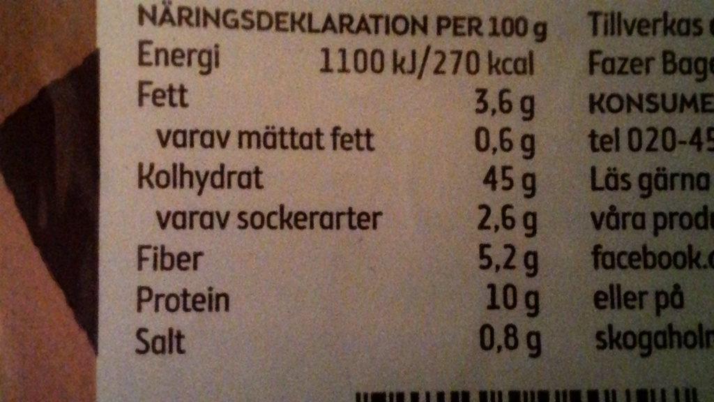 Skogaholm Fiberrost - Nutrition facts