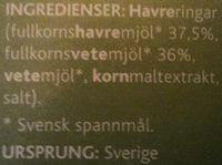 Svenska Havreringbar - Ingrédients - sv