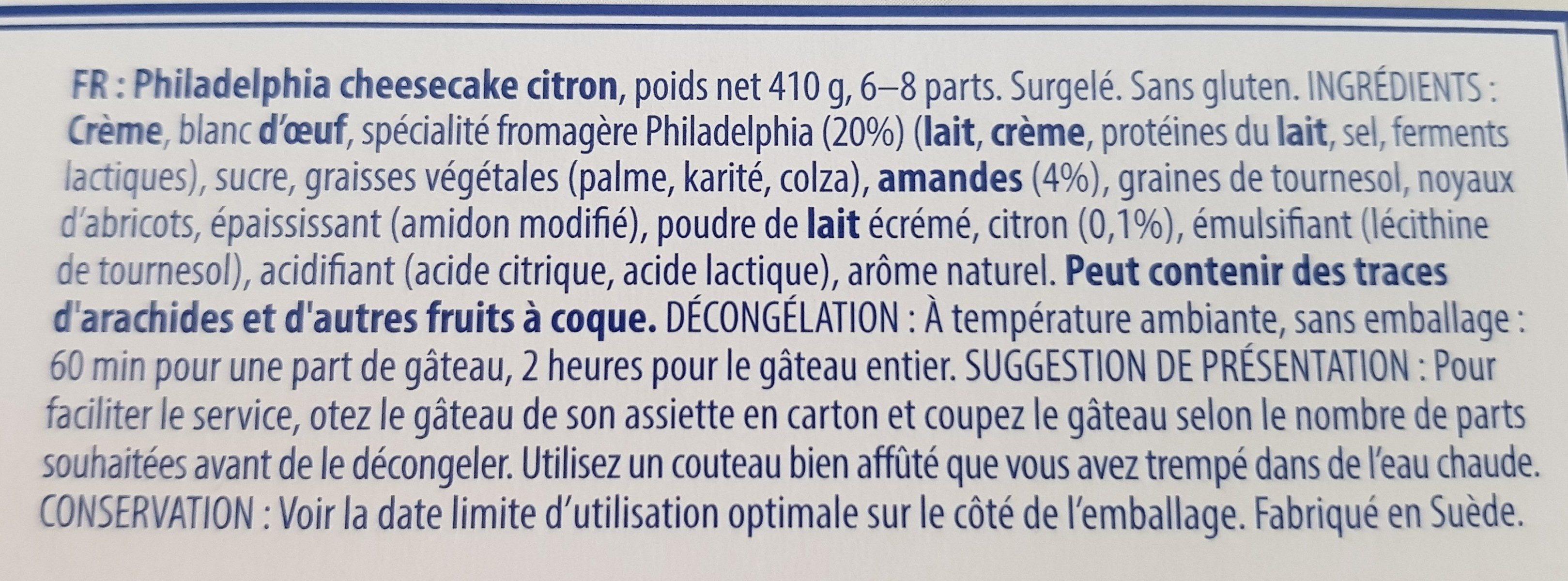 Philadelphia Cheesecake, Lemon - Ingrediënten