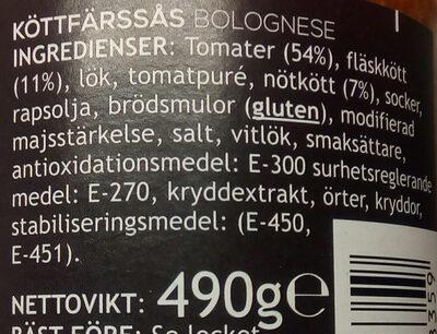 Pride Köttfärssås Bolognese - Ingrédients