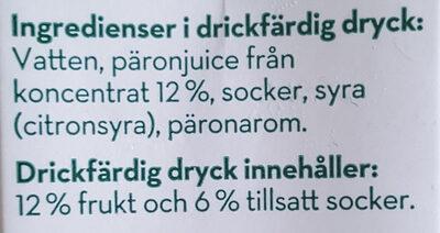 Päron Fruktdryck - Ingredients