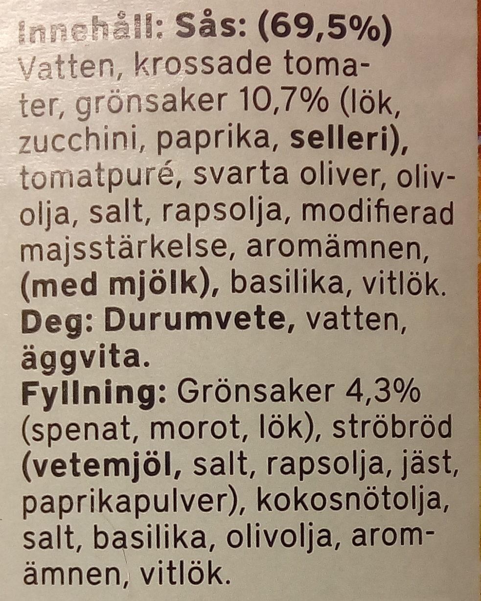 Fontana Vegetarisk Ravioli i tomatsås - Ingrédients