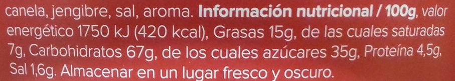 Galletas - Informació nutricional - es