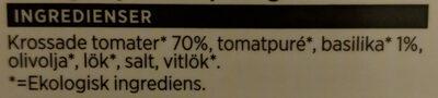 Ekologisk Pastasås Tomat & Basilika - Ingrédients - sv
