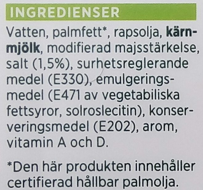 ICA Lättmargarin - Ingrediënten - sv