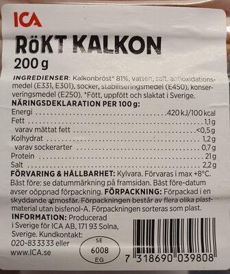 Rökt kalkon - Informations nutritionnelles - sv