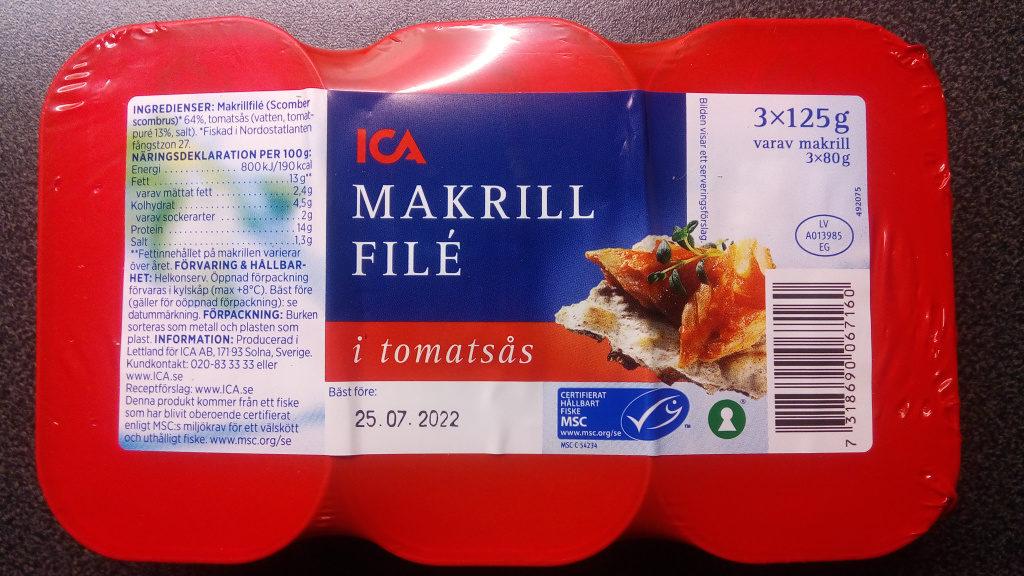Makrillfilé i tomatsås 3 pack - Product