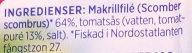 Makrillfilé i tomatsås 3 pack - Ingredients