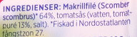 Makrillfilé i tomatsås 3 pack - Ingredients