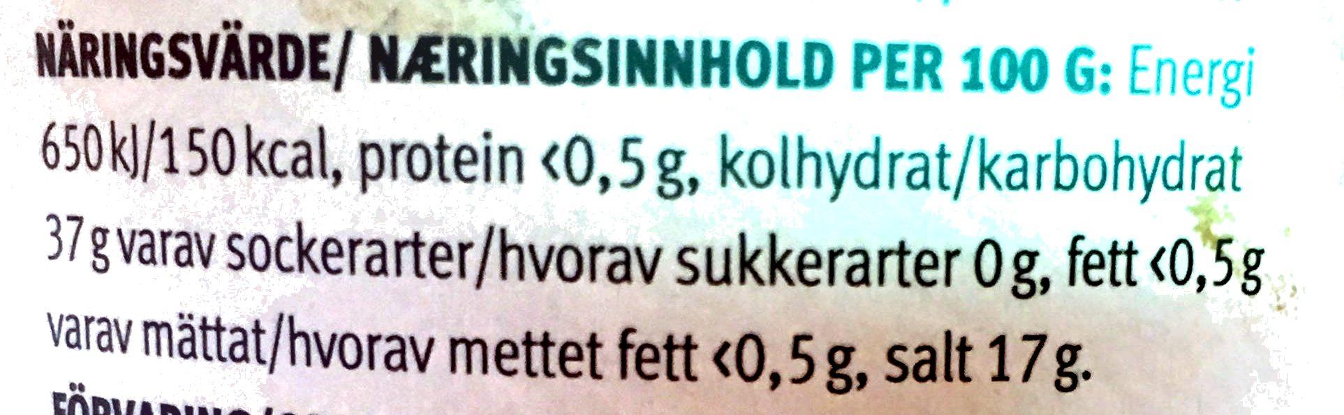 Bakpulver - Informations nutritionnelles - sv