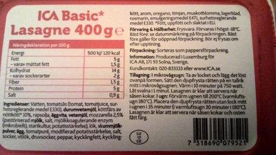 ICA Basic Lasagne - Ingrédients