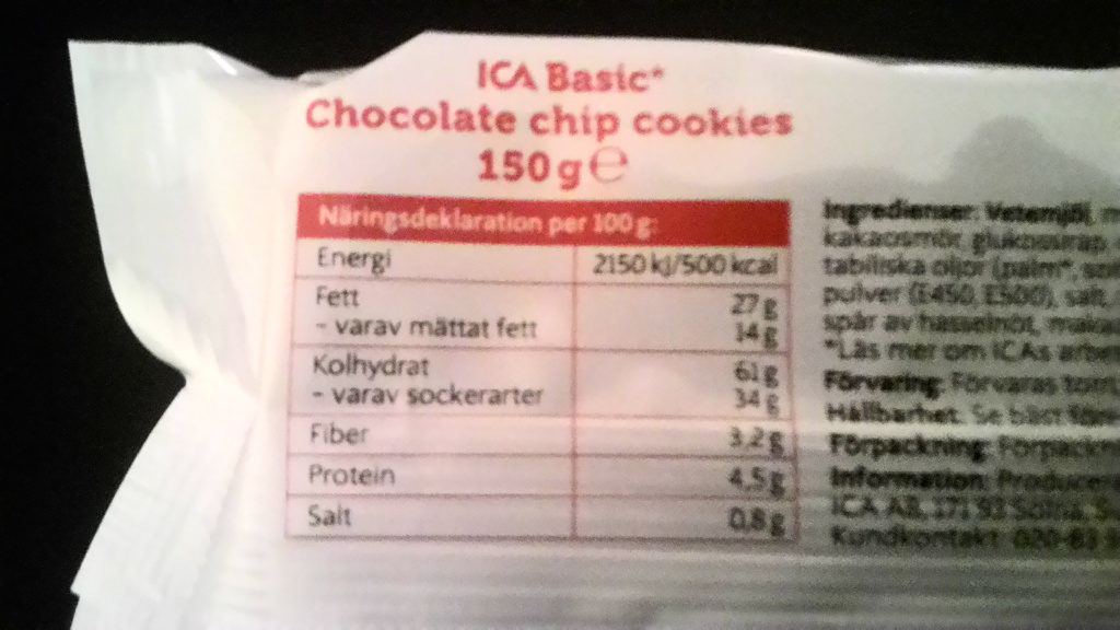 ICA Basic Chocolate chip cookies - Nutrition facts