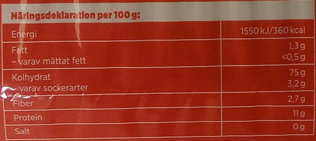 ICA Basic Spaghetti - Informations nutritionnelles - sv