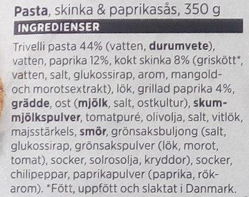 ICA Pasta, Skinka & paprikasås - Ingredients