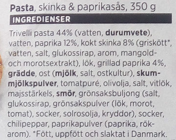 ICA Pasta, Skinka & paprikasås - Ingrediënten - sv