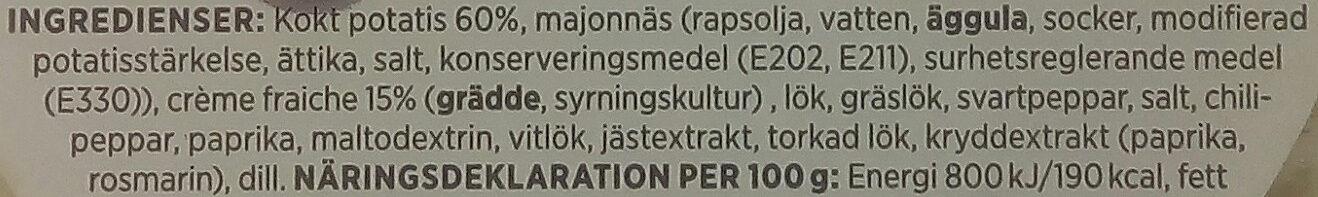 ICA Potatissallad Crème Fraiche - Ingredients