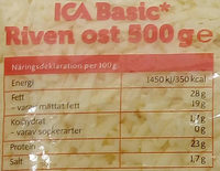 ICA Basic Riven ost - Nutrition facts