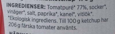 ICA i♥eco Ekologisk tomatketchup - Ingredients