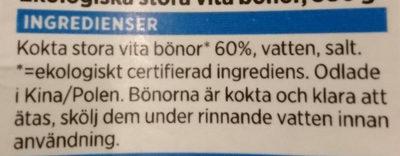 Ekologiska Stora Vita Bönor - Ingredients - sv