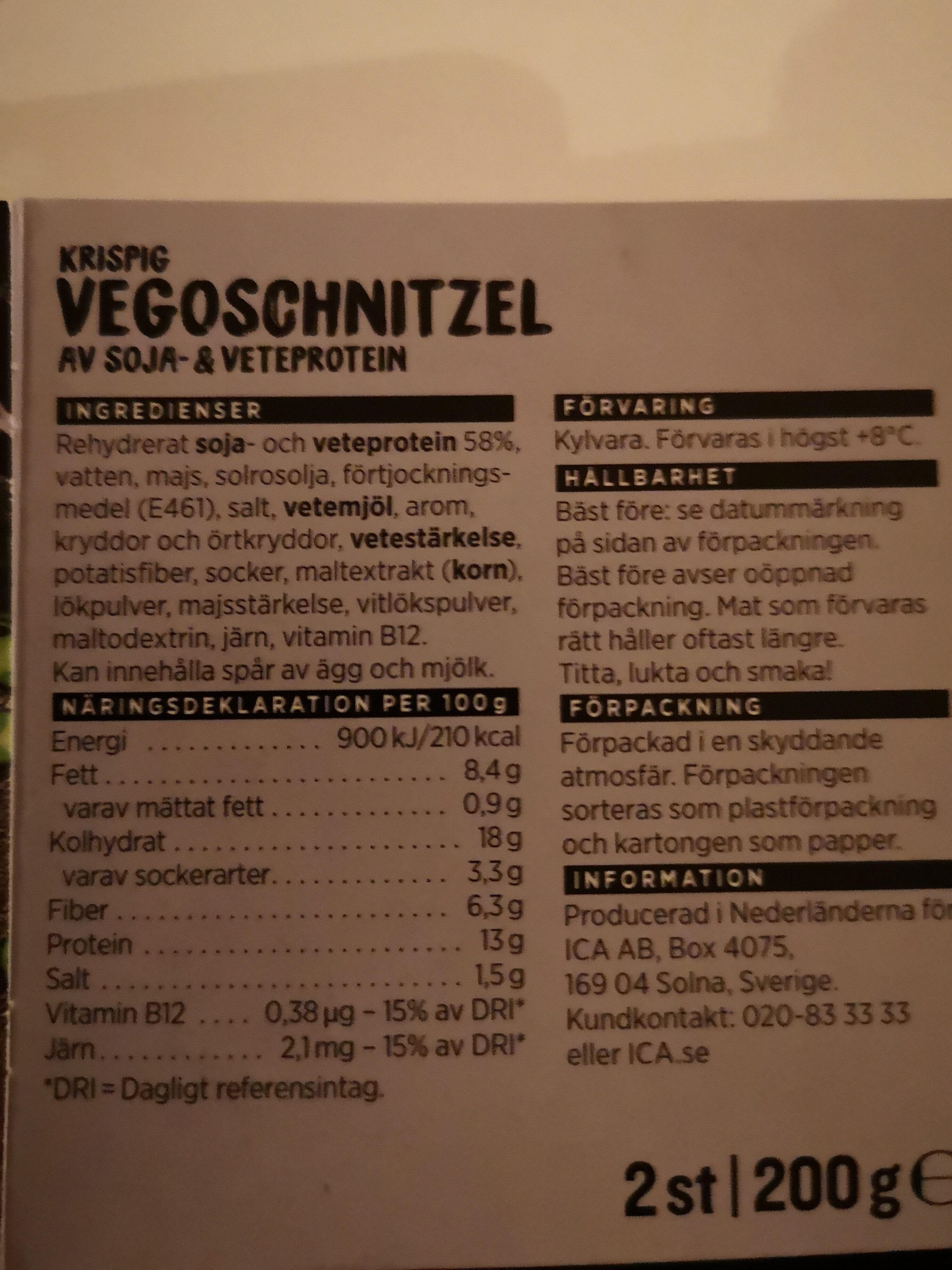 Vegoschnitzel - Ingrédients