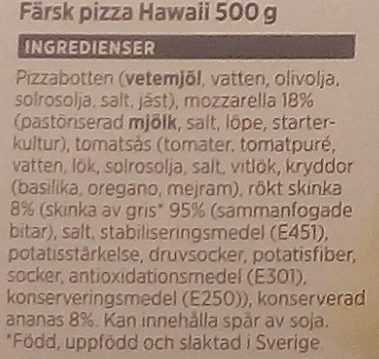 ICA Bara att värma Pizza Hawaii - Ingredients