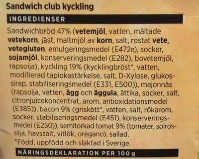 ICA Sandwich club kyckling - Ingredients