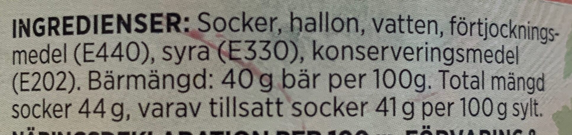 Hallon sylt - Ingrediënten - sv