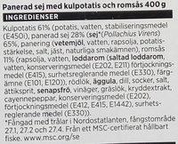 ICA Panerad Sej med kulpotatis och romsås - Ingredients