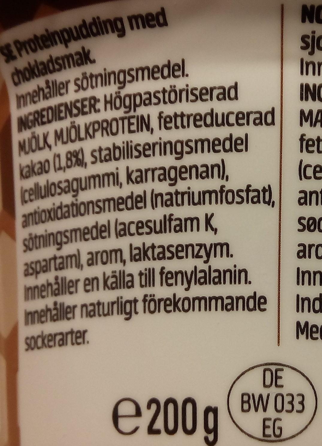 Propud protein pudding - Ingrédients - sv