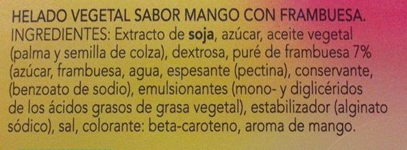 Helado de soja sabor mango frambuesa - Ingredientes - es