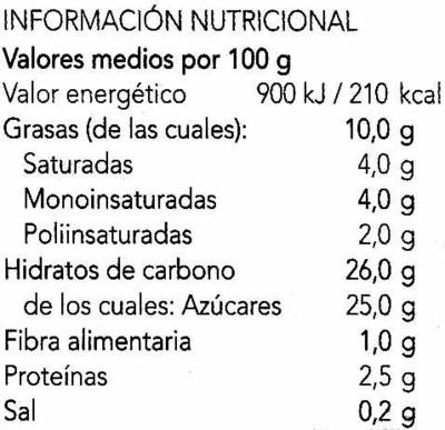 Helado de soja sabor mango frambuesa - Información nutricional - es