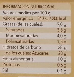 Helado vegetal de avena sabor vainilla - Informació nutricional - es