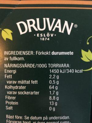 Fullkorns Couscous - Ingrediënten