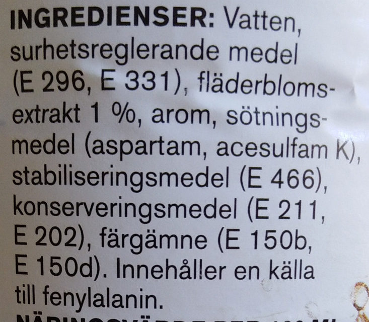 Fläderblom - Ingredients