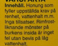 Svensk Honung - Ingredients - sv